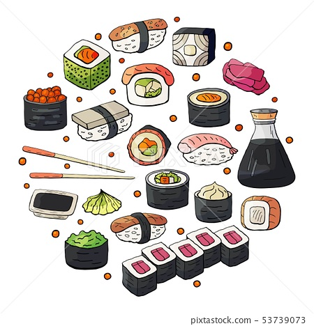 Set of japan sushi collection isolated on white 53739073