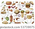 Big set of fast food color elements sandwiches, 53739075