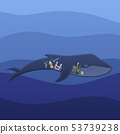 Whale with trash inside under the water 53739238
