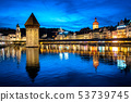Lucerne, Switzerland, Old town and Chapel bridge 53739745