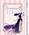 Summer Vibes Card with Cartoon Beautiful Woman 53739807