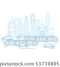 City traffic - downtown cityscape with public 53739895