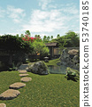 Japanese Garden with Tea House and Pond 53740185