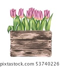 Wooden box with pink tulips 53740226