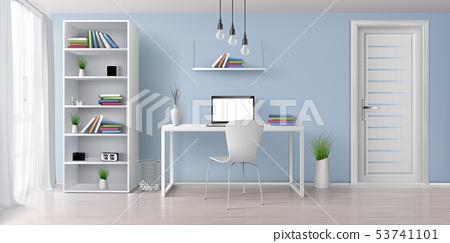 Work desk in home interior realistic vector 53741101