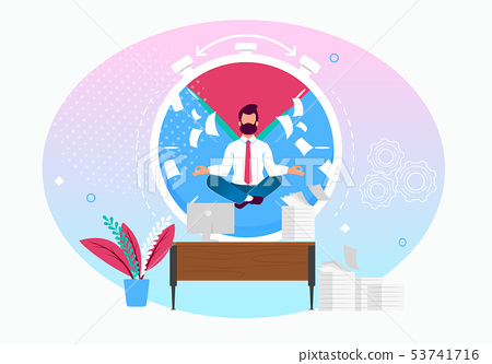 Vector Illustration Calm in Workplace Cartoon Flat 53741716