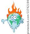 earth cartoon on fire planet  53742194