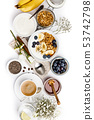 Healthy breakfast set on white background, top view, copy space 53742798