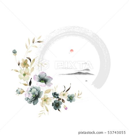 優雅的水彩花卉和賀卡設計 53743055