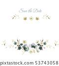 優雅的水彩花卉和賀卡設計 53743058