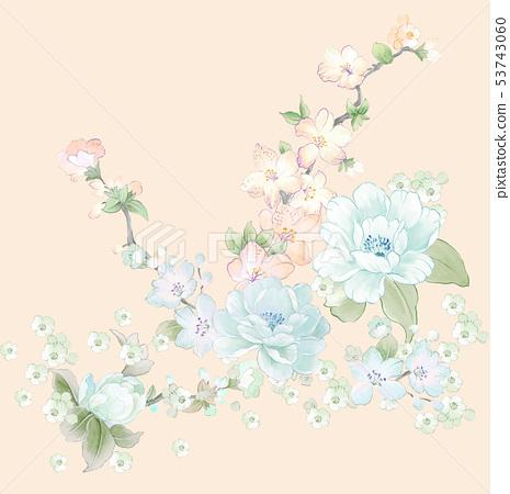 優雅的水彩花卉和賀卡設計 53743060