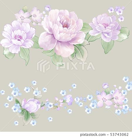 優雅的水彩花卉和賀卡設計 53743062