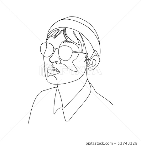 Continuous one line portrait of man in glasses and cap. Art 53743328