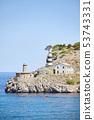 Lighthouse in Port de Soller village, Majorca, 53743331