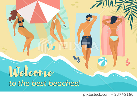 Characters Relax under Sun Umbrellas on Sea Coast 53745160