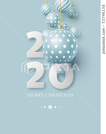 2020 New Year sign with 3d hanging baubles. 53746138