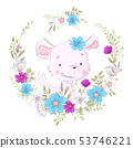 Illustration of a print for the children s room clothes cute mouse in a wreath of purple, white and 53746221