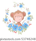 Illustration of a print for the children s room clothes cute monkey in a wreath of blue flowers. 53746248