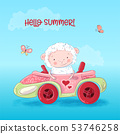 Cute Sheep is sitting in a car 53746258