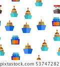 Ferry, Vessel And Ship Vector Seamless Pattern 53747282