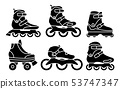 Set of Inline Roller Skates icons isolated on white background. Silhouette vector illustration 53747347