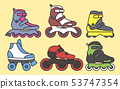 Set of Inline Roller Skates colored icons. Vector illustration 53747354