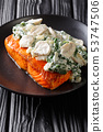 whole salmon fillet is baked to perfection, then 53747506