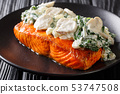 Florentine Salmon is simmered in a creamy wine 53747508