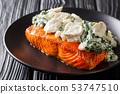 Baked Florentine salmon with creamy wine sauce, 53747510