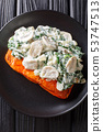 whole salmon fillet is baked to perfection, then 53747513