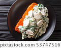 whole salmon fillet is baked to perfection, then 53747516