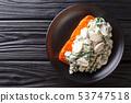Baked Florentine salmon with creamy wine sauce, 53747518