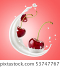 Red cherries fly with splashes of milk on a pink 53747767