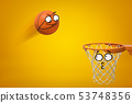3d rendering of cartoon smiley face basketball ball flying into cartoon face hoop on yellow 53748356