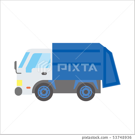 Illustration of a working car Car   Garbage truck   Deformed, comic, anime style vector data 53748936