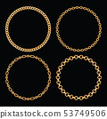 Set collection of round frames made with golden chains. On black. Vector illustration 53749506