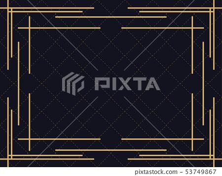 Art deco frame. Vintage linear border. Design 53749867