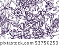 Artistic pattern with ylang-ylang, daffodil, lotus 53750253