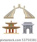 Korea vector korean culture traditional symbols buildings temple landmark traveling in South Korea 53750381