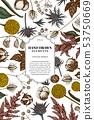 Card design with colored astilbe, craspedia, blue eryngo, lagurus, cotton, gypsophila 53750669