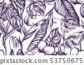 Artistic pattern with gloriosa, anthurium, strelitzia hand drawn illustration 53750675