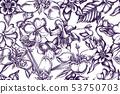 Artistic pattern with impatiens, tigridia, aquilegia 53750703