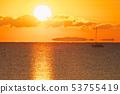 첫날과 요트와 신기루에 의해 공중에 떠있는 섬 53755419