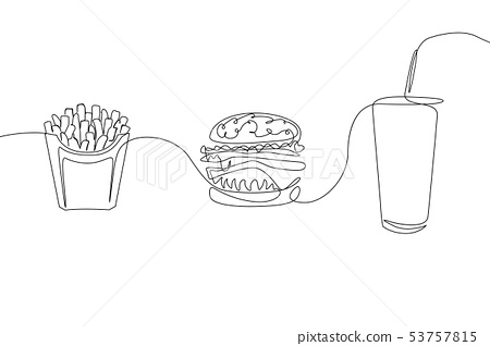 Continuous one line drawing fastfood French fries, hamburger and a glass of soda 53757815