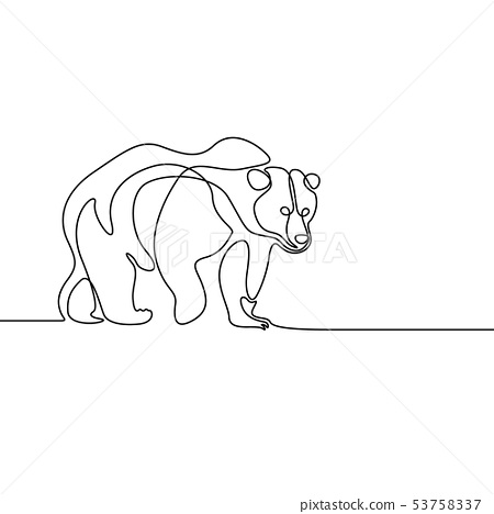 Continuous line going bear on white background 53758337