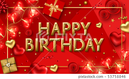 Vector Happy Birthday Background With Red Gift Stock Illustration 53758846 Pixta