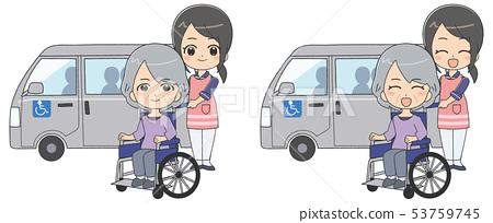 여자 간병인 수석 여성 차 53759745