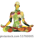 Yoga and healthy eating. Silhouette of vegetables  53760005