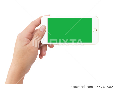 Human left hand holding green screen mobile 53761582