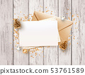 Blank paper, gold envelope mockup design template 53761589